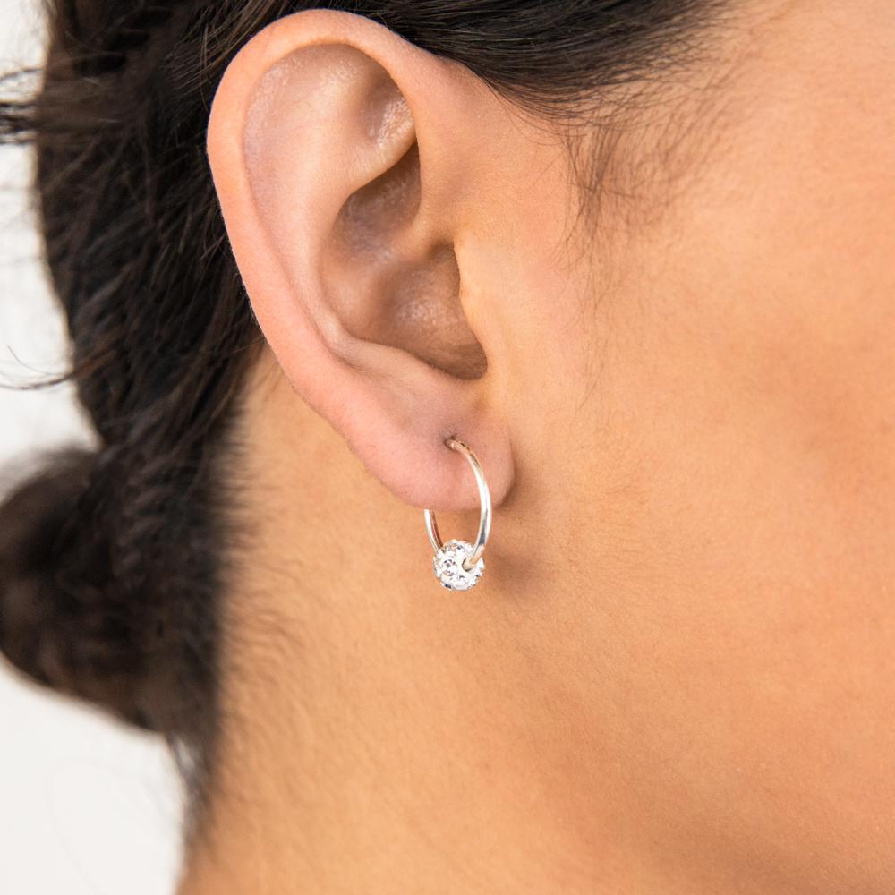 Sterling Silver White Crystal Slider Hoop Earrings