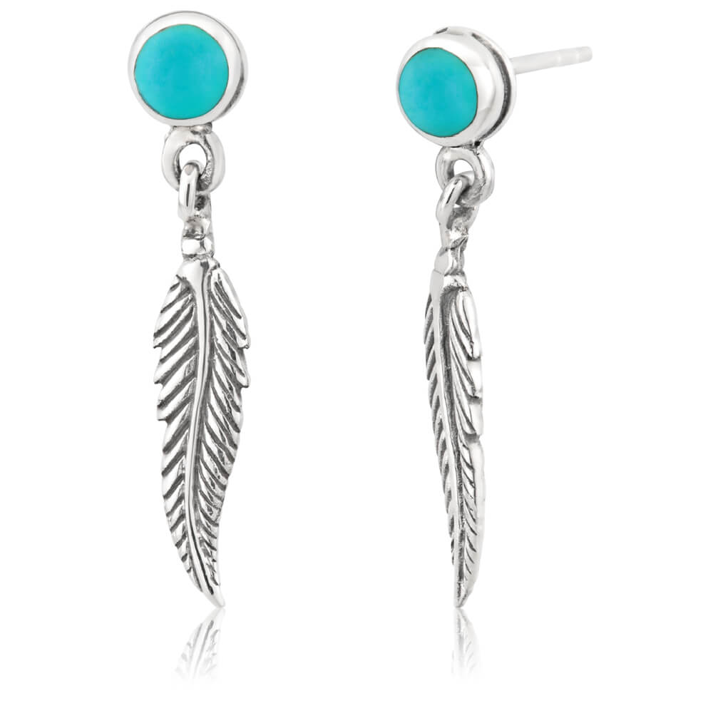 Sterling Silver Created Turquoise Dome & Feather Stud Earrings