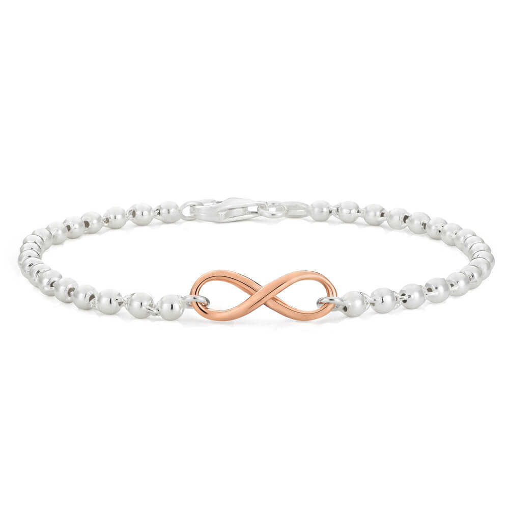 Gold Plated Sterling Silver Ball Infinity Bracelet