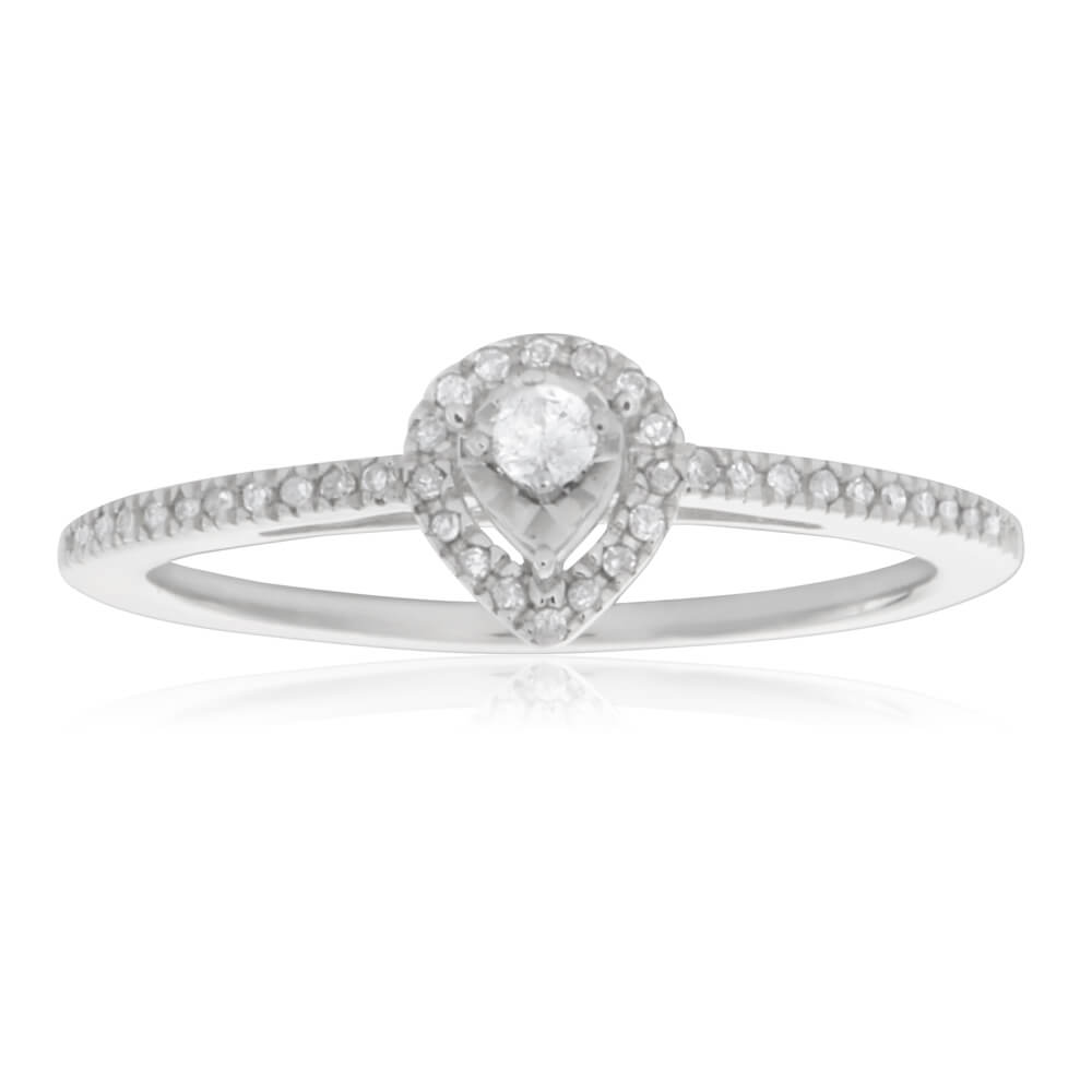 Sterling Silver Pear Shape Diamond Promise Ring