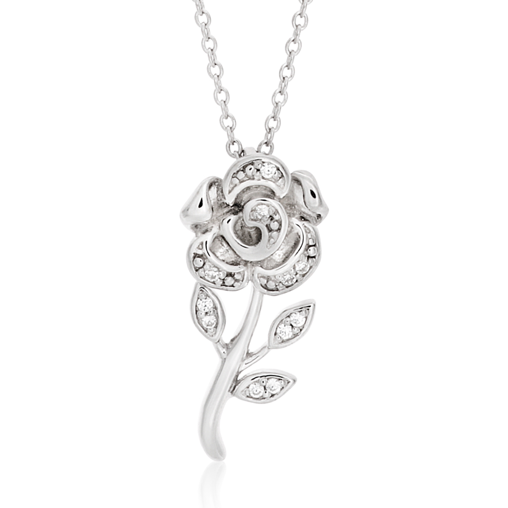 Sterling Silver Rhodium Plated Cubic Zirconia Rose Flower Pendant With 40 + 5cm Chain