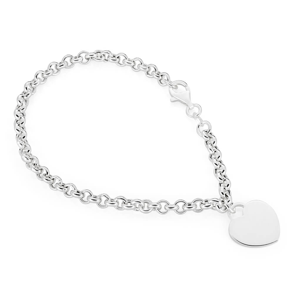 Sterling Silver Belcher Bracelet 19cm with Small Heart Charm