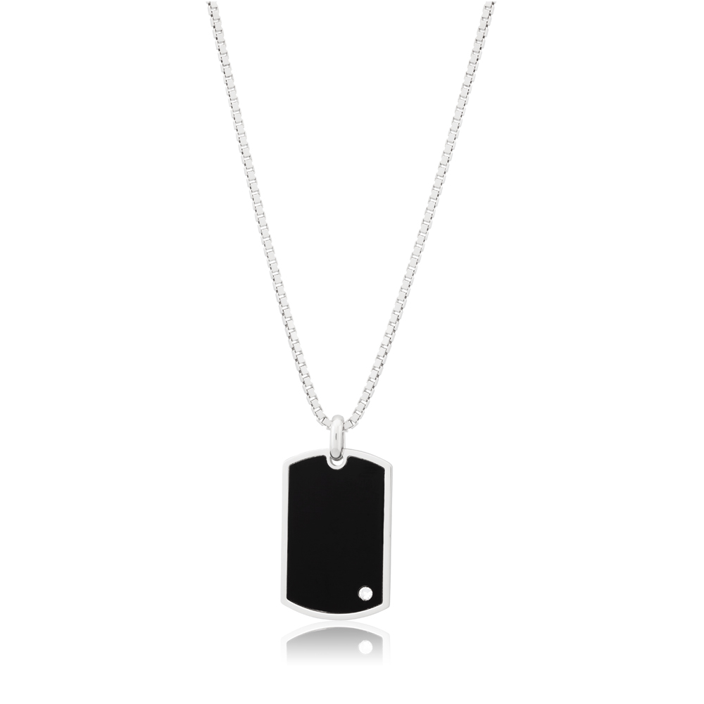 Sterling Silver Rhodium Plated Black and Zirconia Dog Tag Pendant
