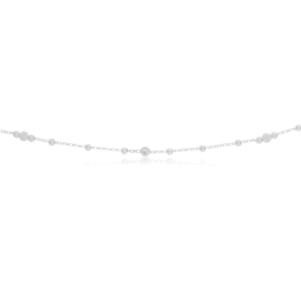 Sterling Silver Zirconia and Plain and Stardust Ball 26cm Anklet
