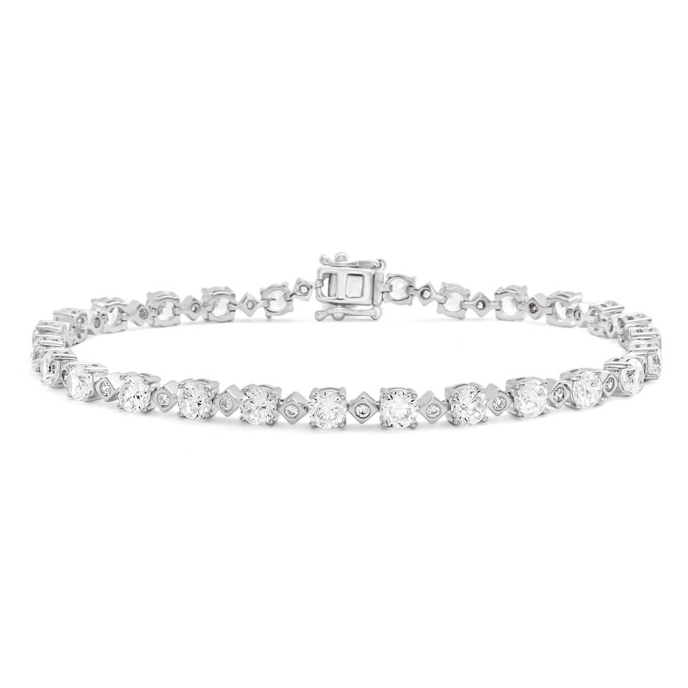 Sterling Silver Rhodium Plated Zirconia Tennis 18.5cm Bracelet