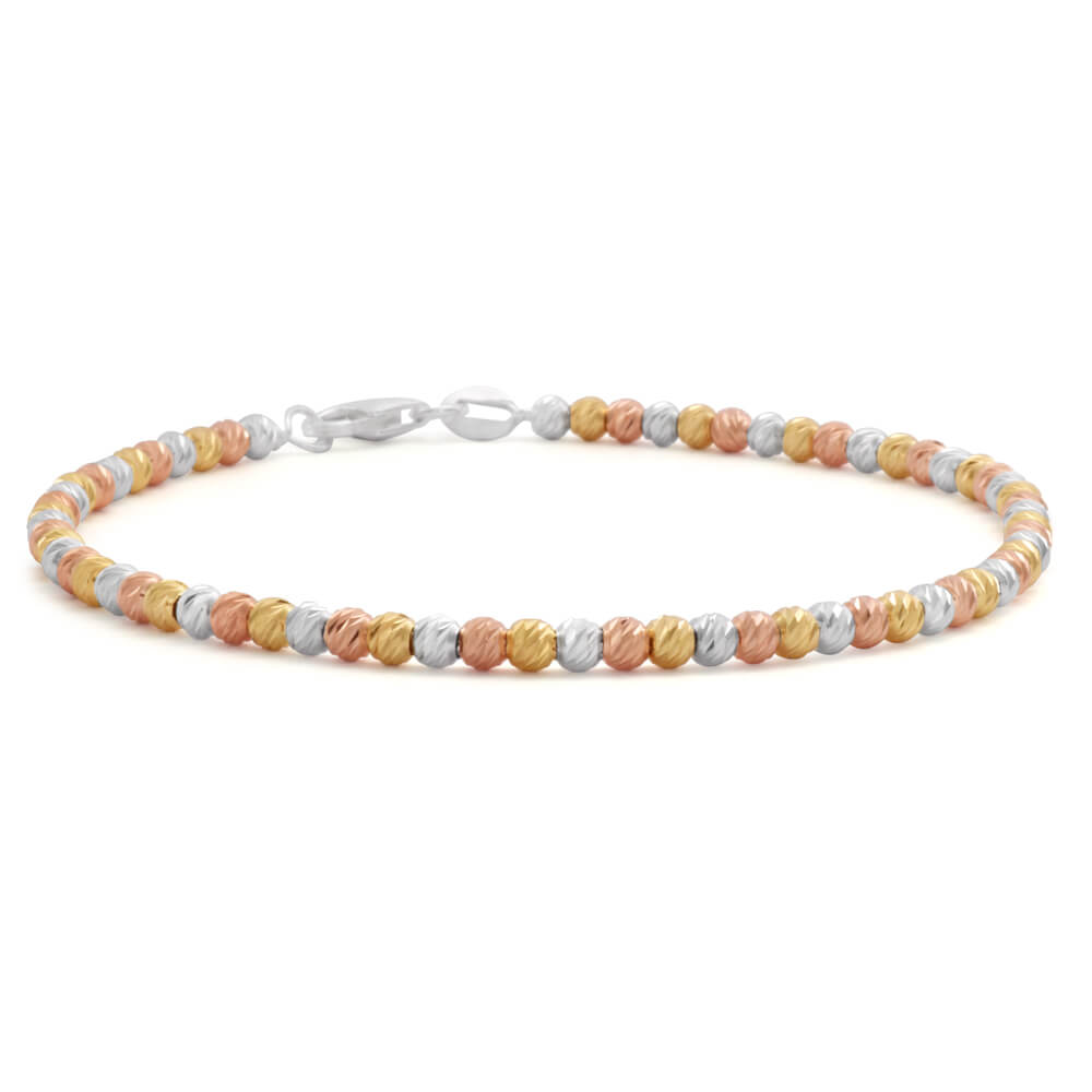 Sterling Silver Gold and Rose Gold Plated Three Tone 19cm Diamond Cut Ball Bracelet