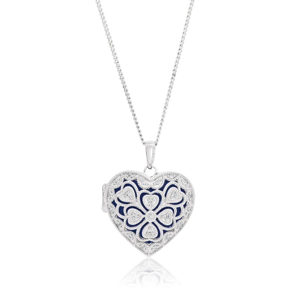 Sterling Silver Cubic Zirconia Vintage Heart Locket