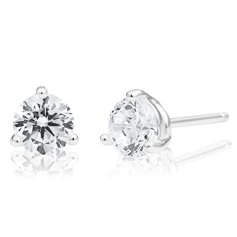 Sterling Silver Cubic Zirconia 5mm Solitaire Stud Earrings