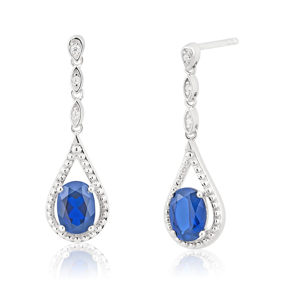 Sterling Silver Rhodium Plated Created Sapphire and Zirconia Drop Earrings
