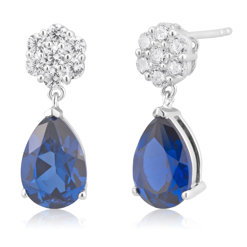 Sterling Silver Created Sapphire and Cubic Zirconia Drop Earrings