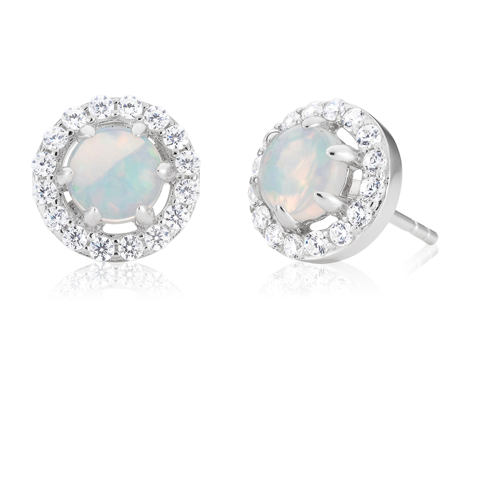 Sterling Silver Created White Opal and Cubic Zirconia Stud Earrings
