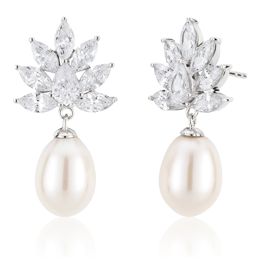 Sterling Silver Rhodium Plated Freshwater Pearl and Zirconia Earrings