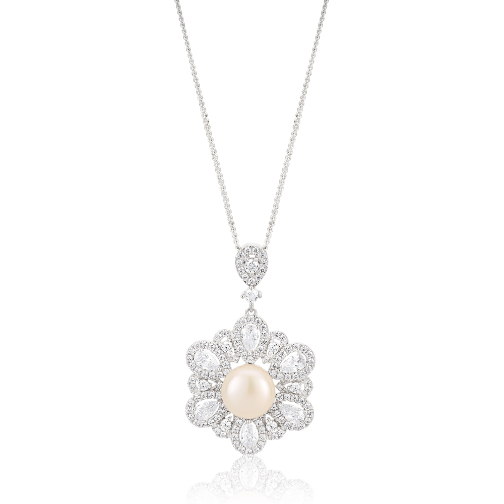 Sterling Silver Rhodium Plated Freshwater Pearl and Zirconia Pendant