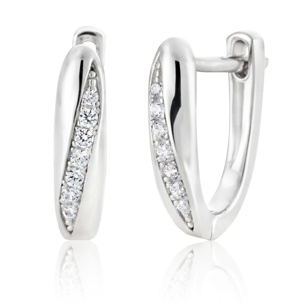 Sterling Silver Rhodium Plated Zirconia Fancy Twist Huggie Earrings
