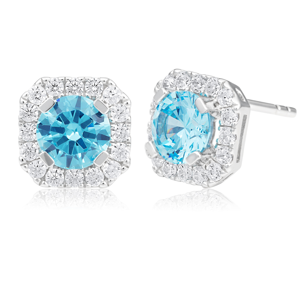Sterling Silver Rhodium Plated Light Blue Zirconia Round Cut Halo Stud Earrings
