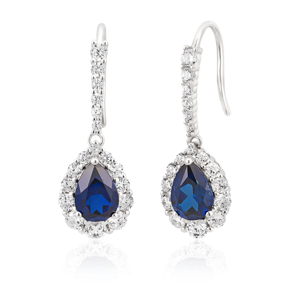 Sterling Silver Rhodium Plated Created Sapphire Pear Cut and Zirconia Halo Earrings