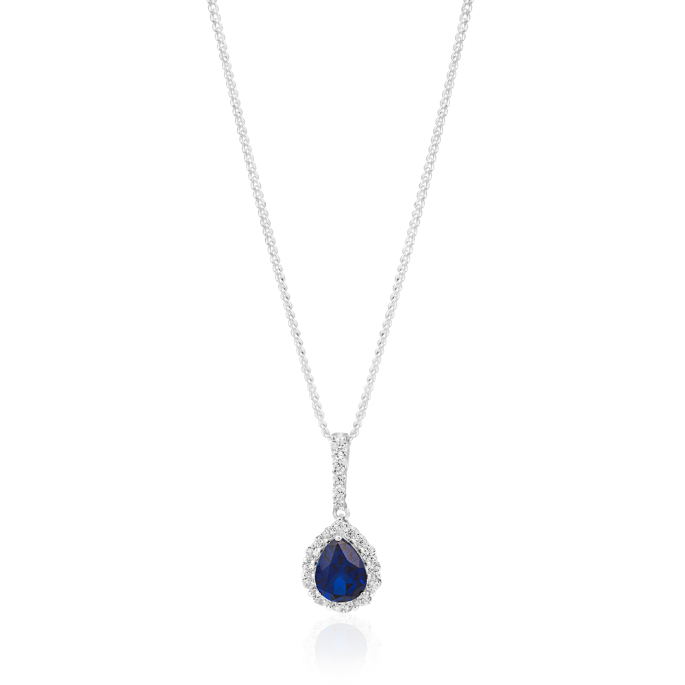 Sterling Silver Rhodium Plated Created Sapphire Pear Cut and Zirconia Halo Pendant