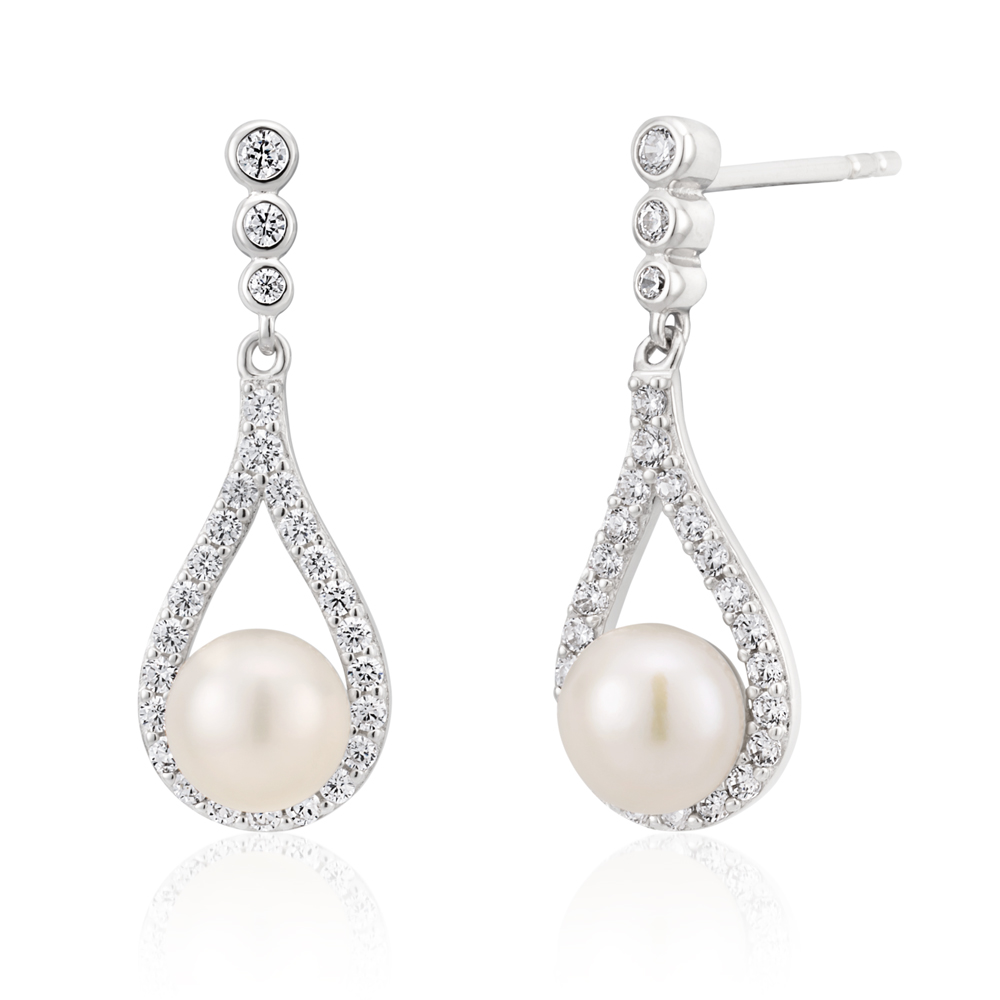 Sterling Silver Rhodium Plated Freshwater Pearl and Zirconia Teardrop Earrings