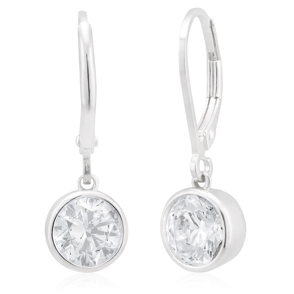 Sterling Silver Cubic Zirconia 6.5mm Bezel Drop Earrings
