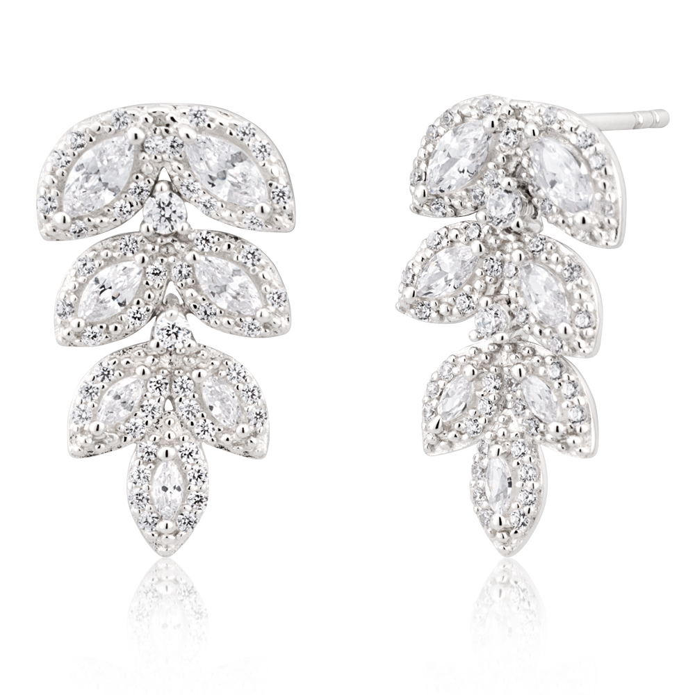 Sterling Silver Rhodium Plated Fancy Marquise Cubic Zirconia Drop Earrings