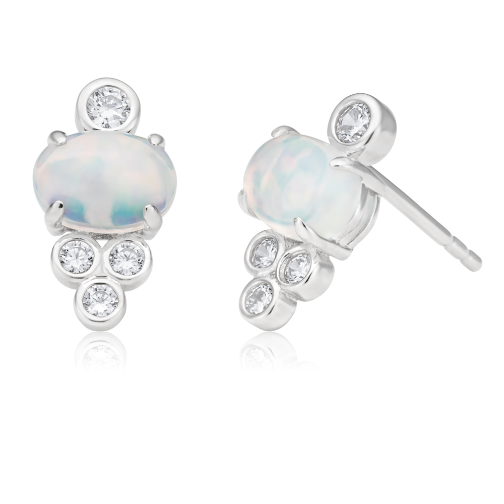 Created Opal and Zirconia Sterling Silver and Rhodium Studs