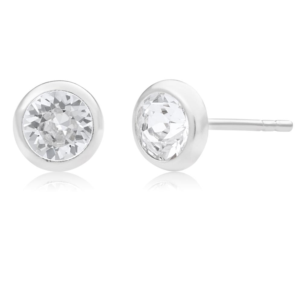 Sterling Silver 5mm White Swarovski Crystal Stud Earrings