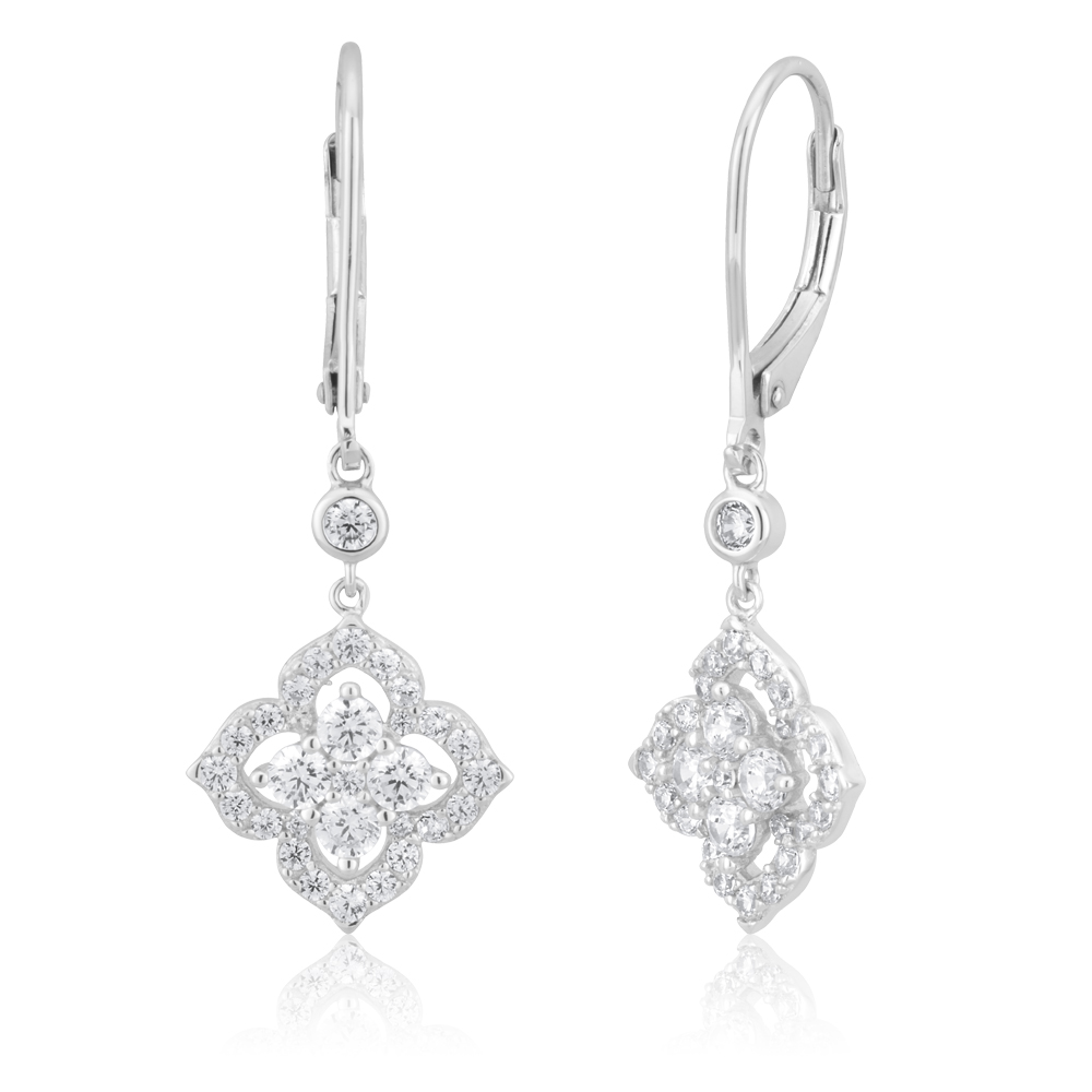 Sterling Silver Rhodium Plated Cubic Zirconia Lever Back Drop Earrings