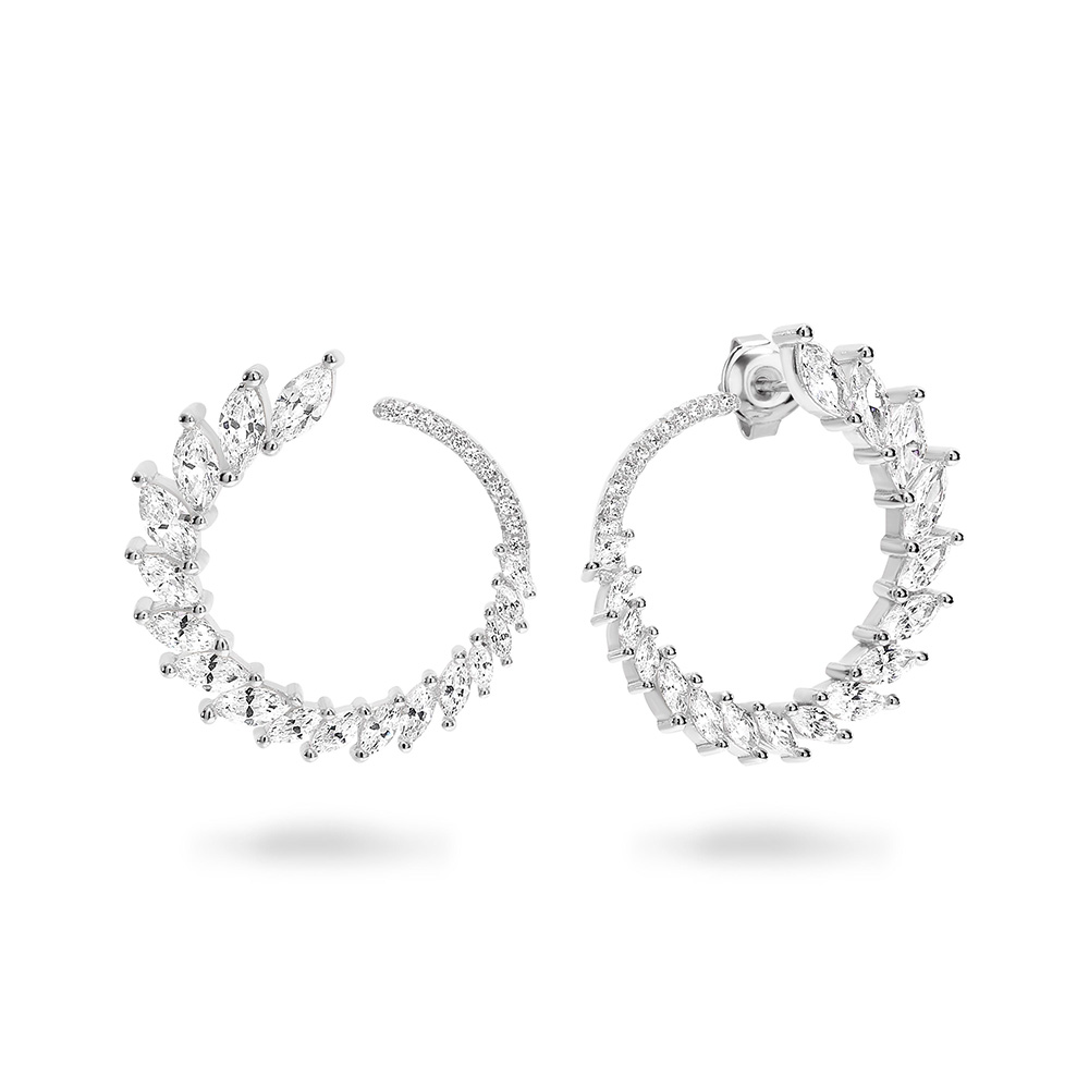 Georgini Sterling Silver Graduated Zirconia Marquise Hoop Stud Earrings