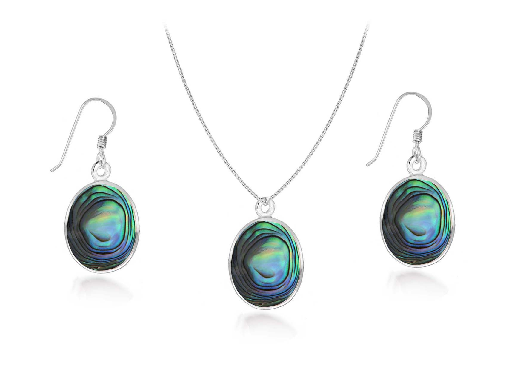 Sterling Silver Paval Pendant and Earring Set