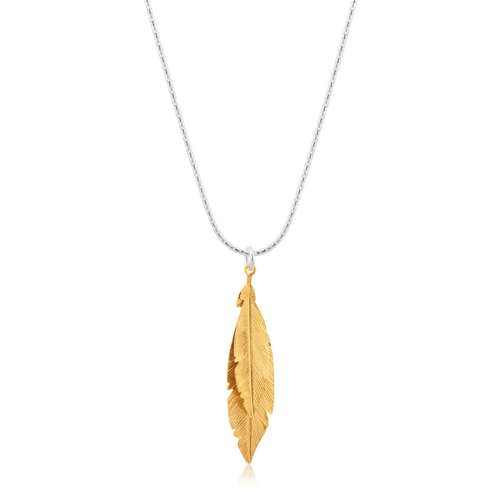 Sterling Silver 42cm Multi Feather Drop Pendant