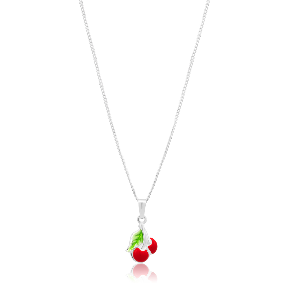 Sterling Silver Cherries and Leaf Charm Pendant