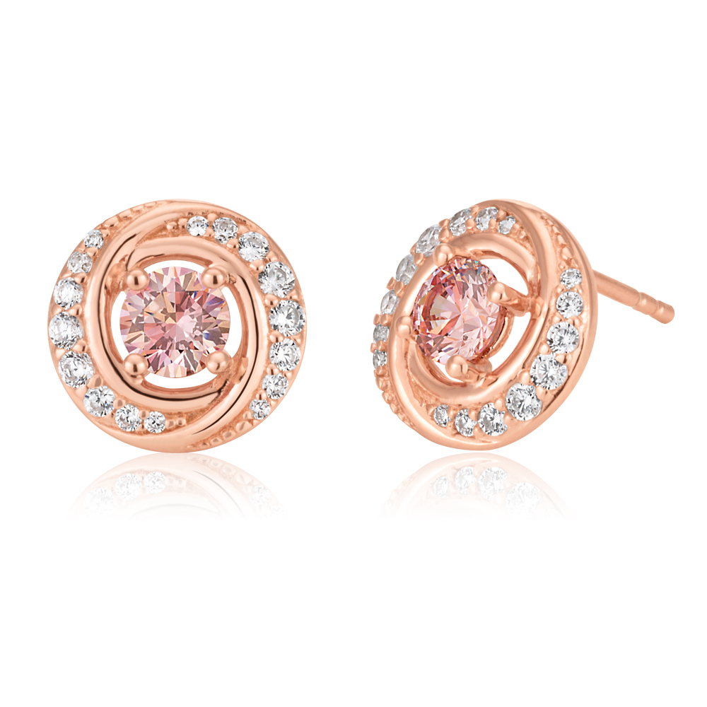 Sterling Silver and Rose Gold Plated Zirconia Studs