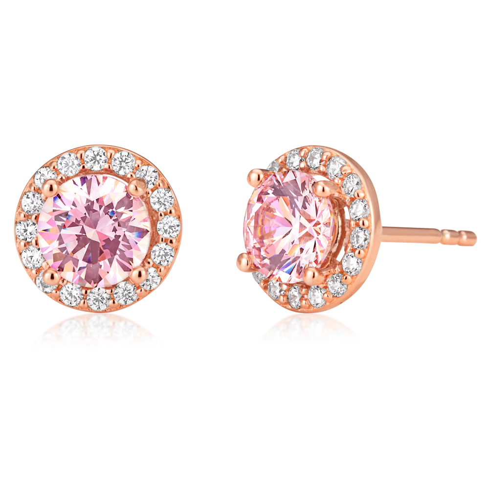Sterling Silver and Rose Gold Plated Zirconia Stud Earrings