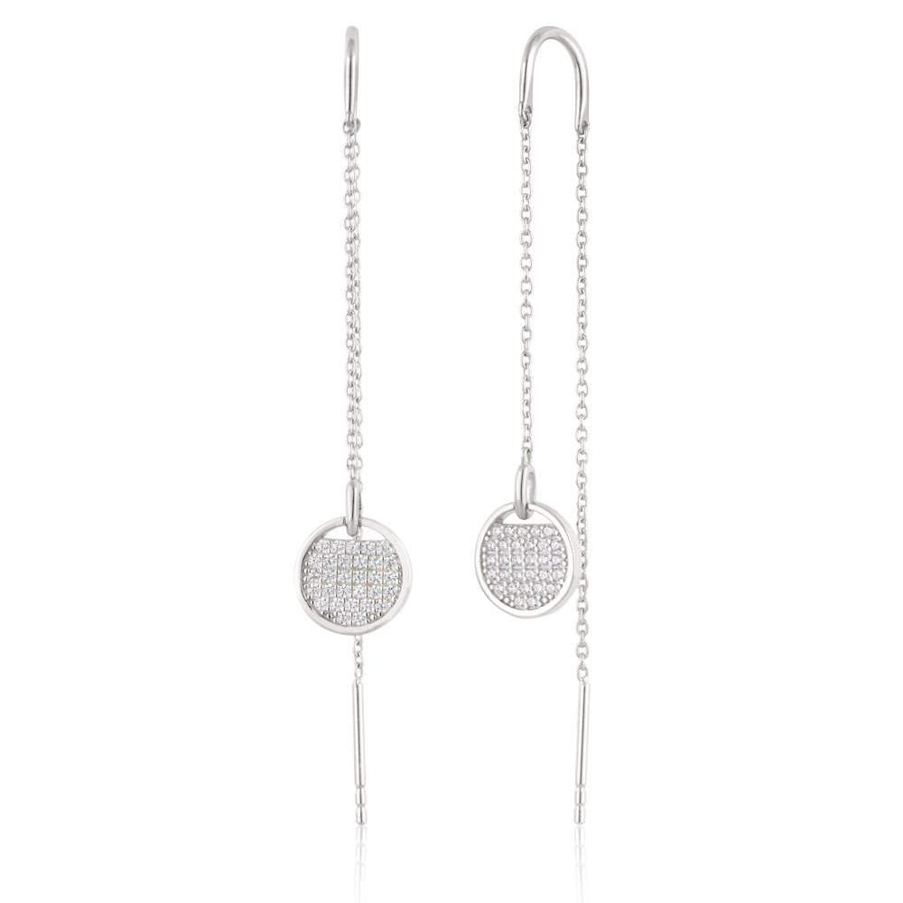 Sterling Silver Zirconia Round Disc Thread Earrings