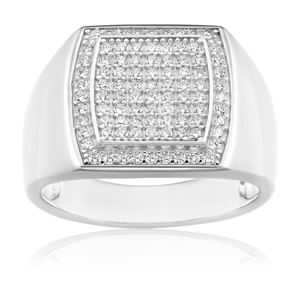 Sterling Silver Zirconia Grid Gents Ring