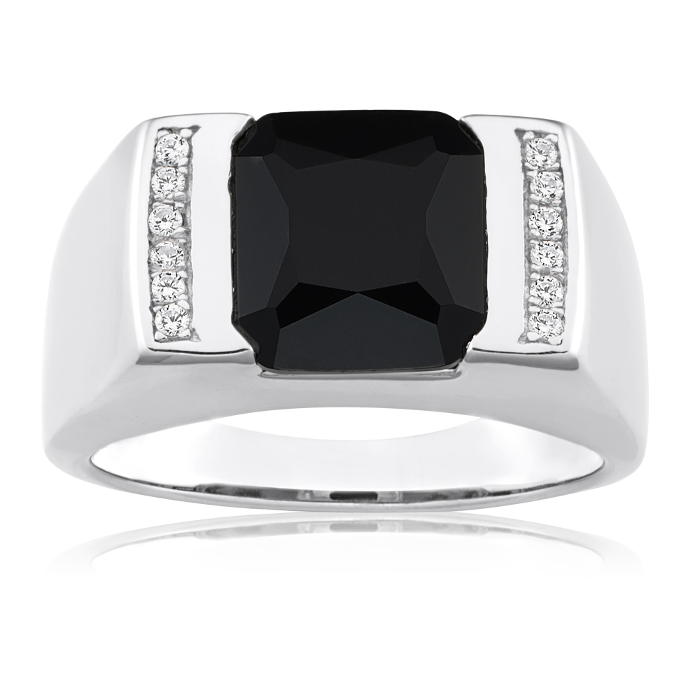 Sterling Silver Onyx and Zirconia Flat Top Gents Ring
