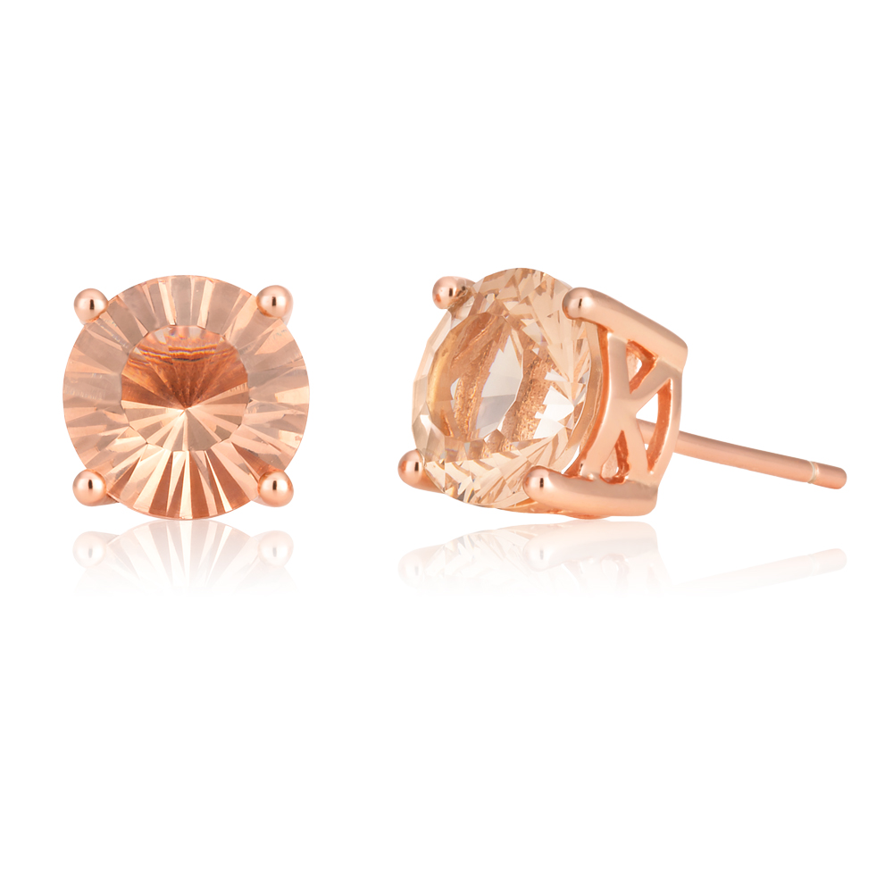 Rose Gold Plated Morgalite Pink Obsidian Studs