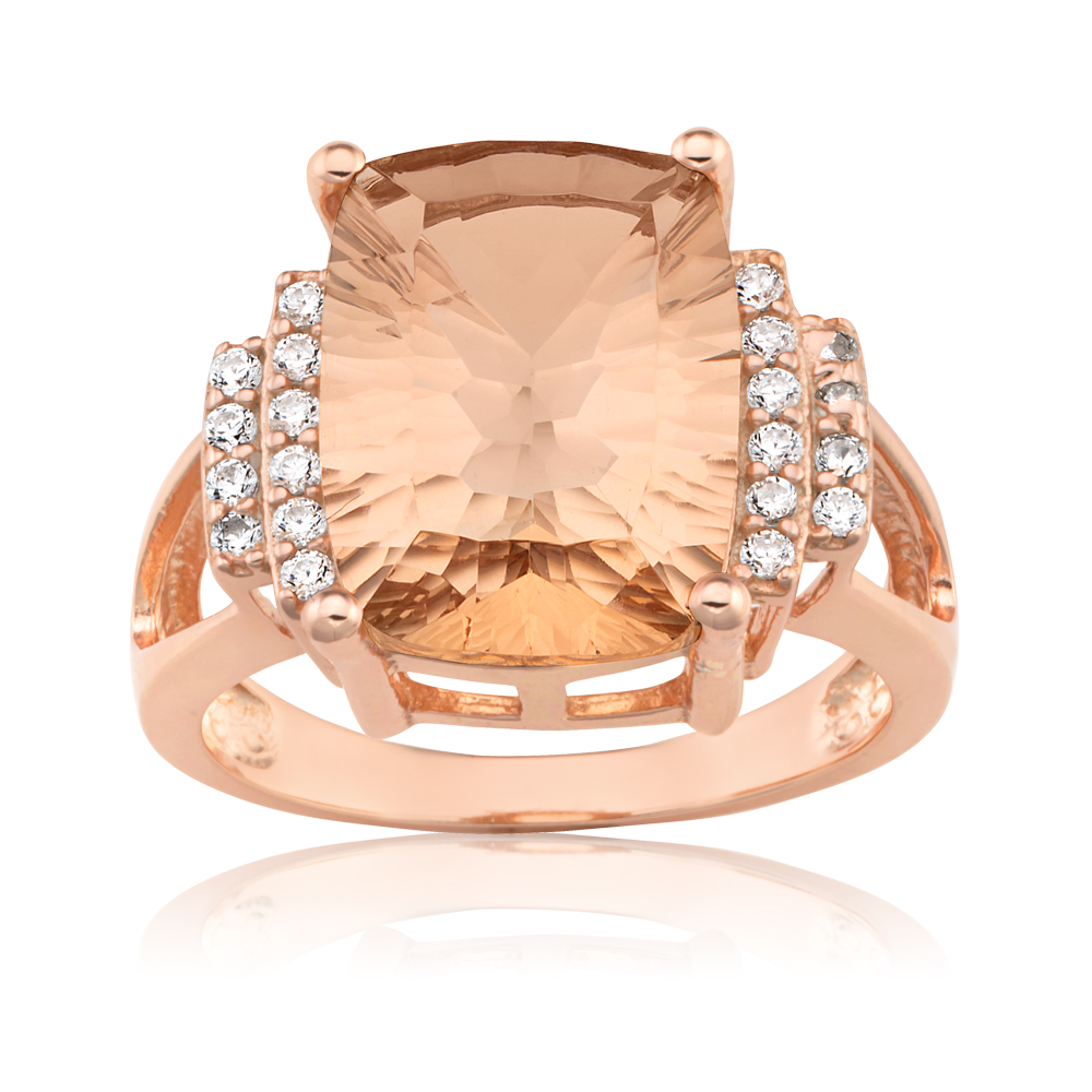 Rose Gold Plated Morgalite Pink Obsidian & Zirconia Ring