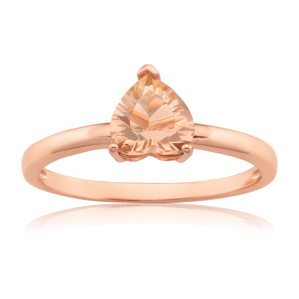 Rose Gold Plated Morgalite Pink Obsidian Heart Ring