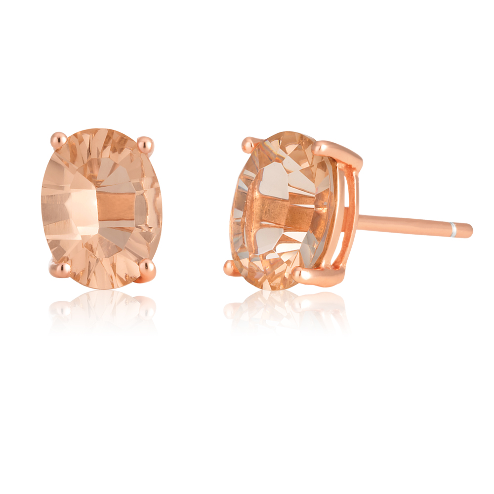 Rose Gold Plated Morgalite Pink Obsidian Oval Studs
