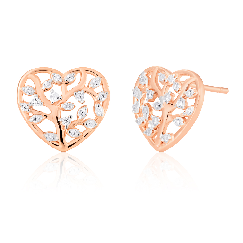 Sterling Silver with Rose Gold Plated Zirconia Tree Of Life Heart Stud Earrings
