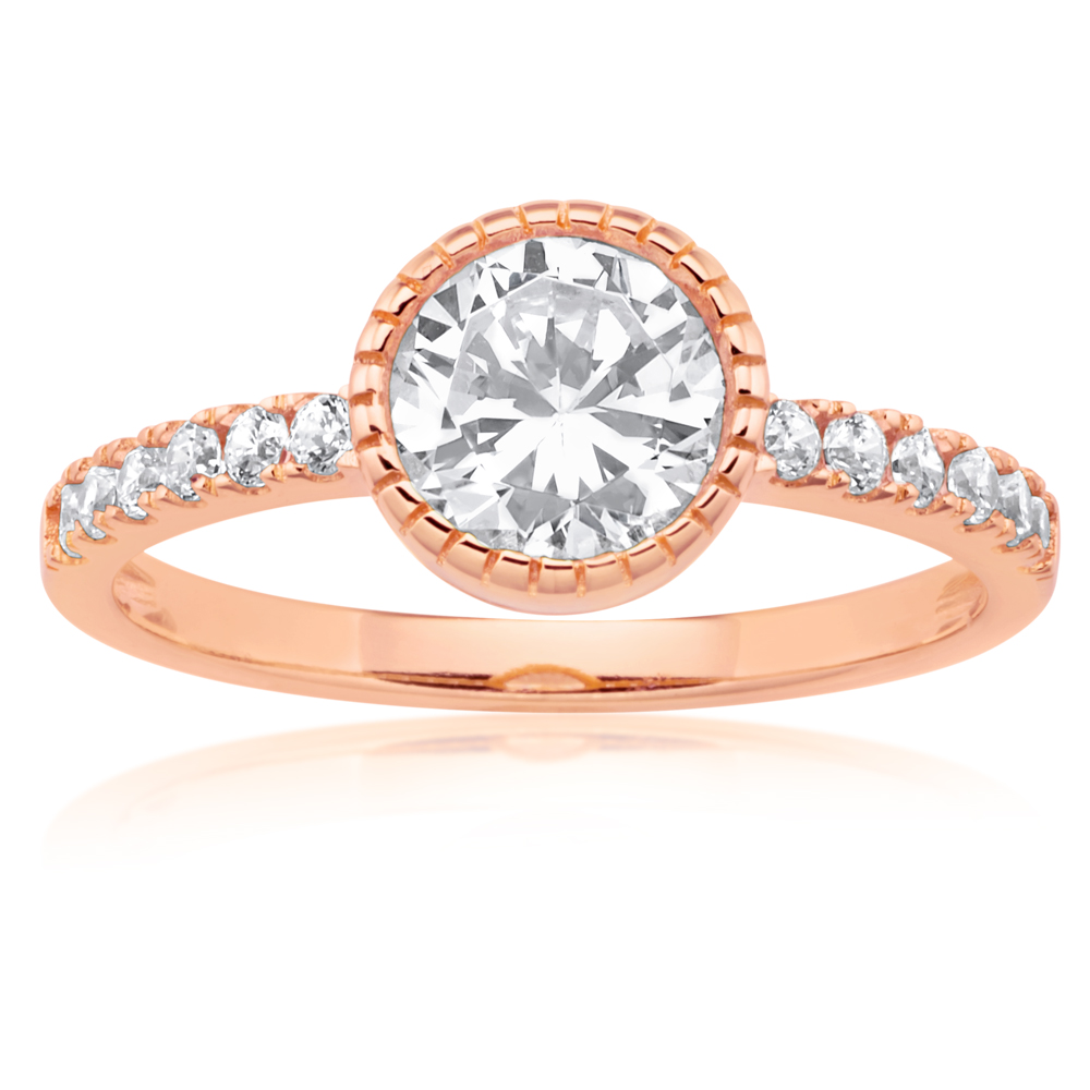 Sterling Silver and Rose Gold Plated Zirconia Ring