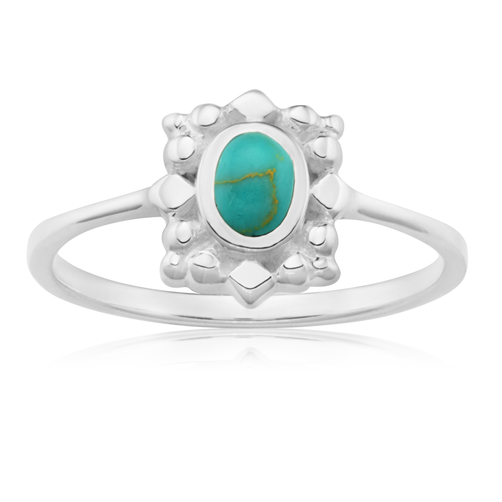 Sterling Silver Created Turquoise Oval Fancy Ring