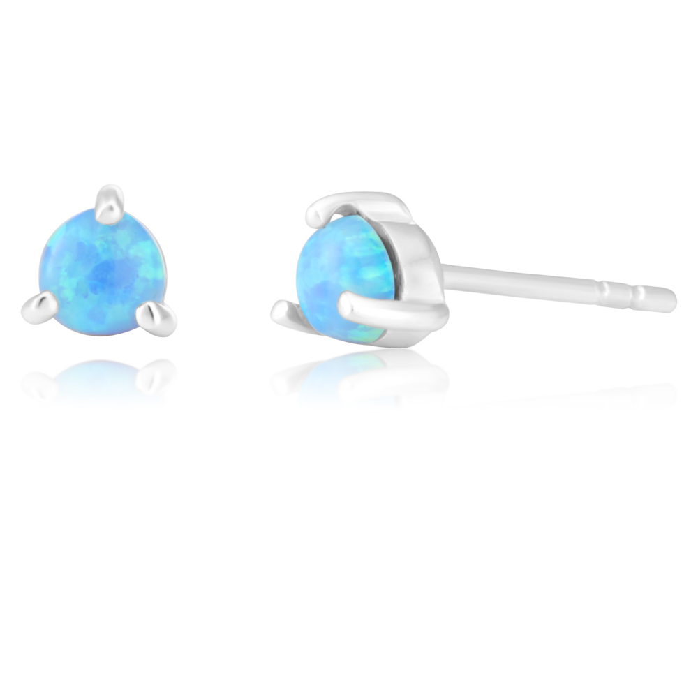 Sterling Silver Created Opal Round Studs