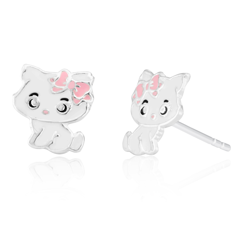 Sterling Silver Pink and White Kitty Studs