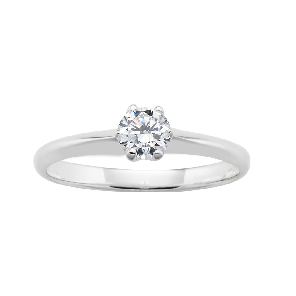 Sterling Silver 6mm Solitaire 6 Claw Zirconia Ring