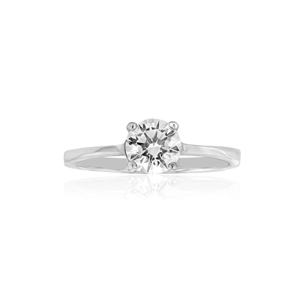 Sterling Silver 6mm 4 Claw Solitaire Zirconia Ring