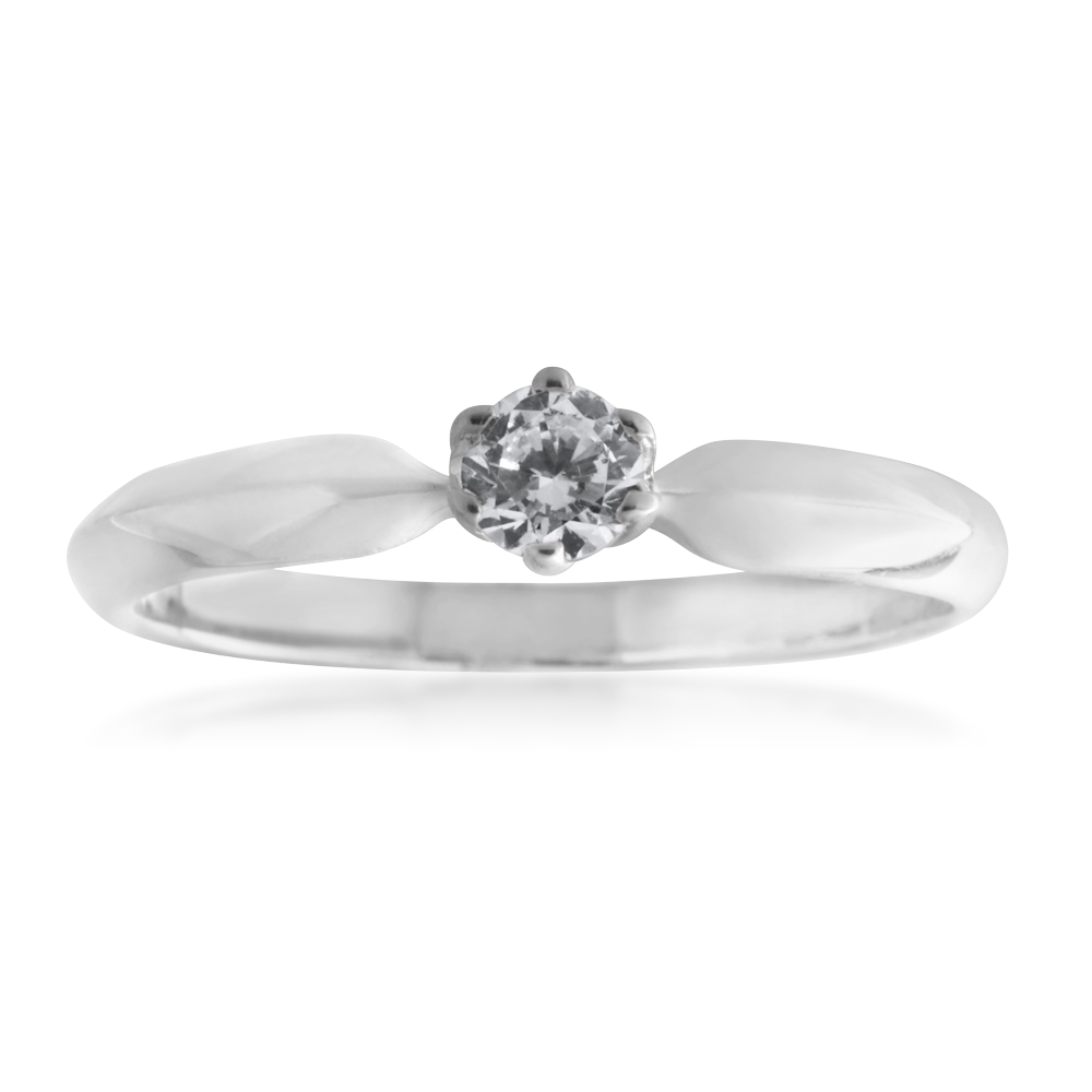 Sterling Silver 4mm Solitaire 6 Claw Knife Edge Ring
