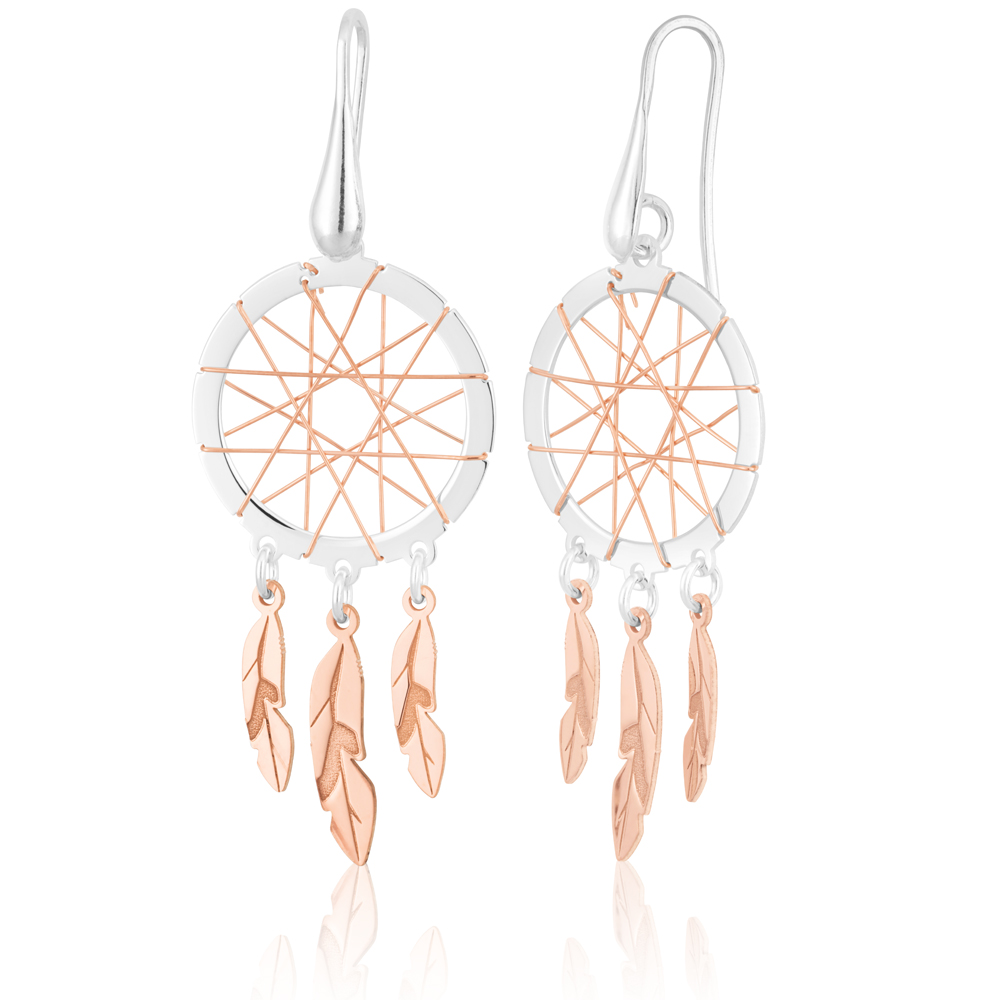 Sterling Silver Rose Plated Two tone 50mm Dream Catcher Earrings
