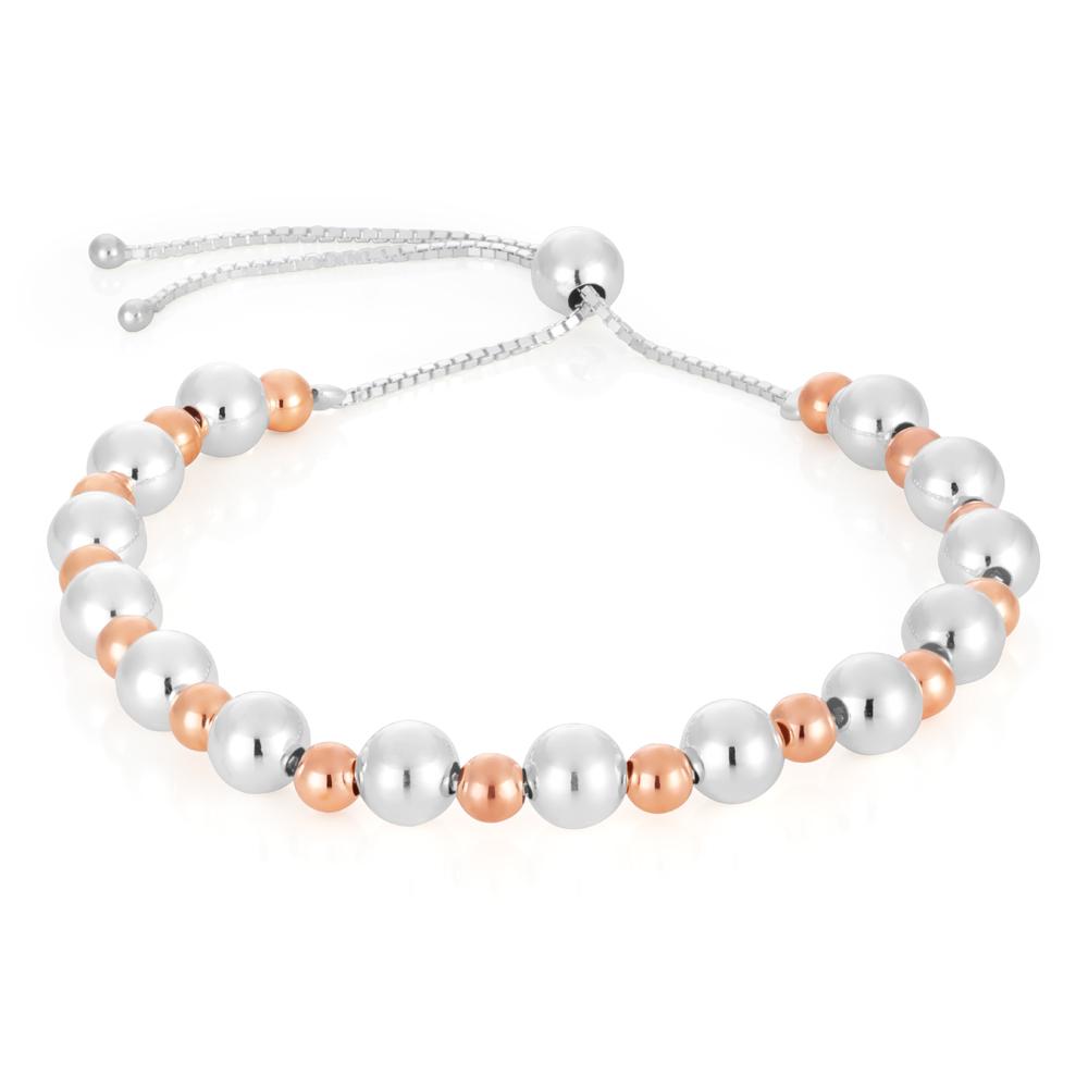 Sterling Silver Two Tone Plain Ball Slider Bracelet